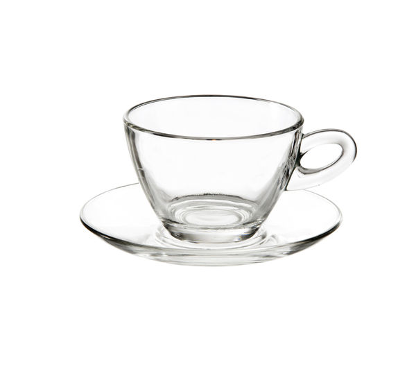 EDDINGTONS 47118200 Clear Cappuccino Glasses & Saucers - Set of 2, Transparent