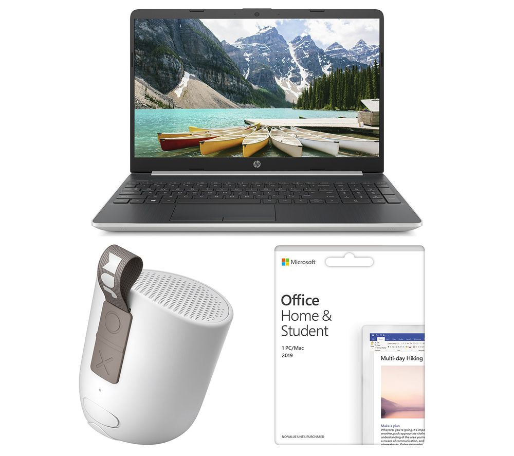 "MICROSOFT 15s-fq1505sa 15.6"" Laptop, Office Home & Student 2019 & Chill Out HX-P202GY Portable Bluetooth Speaker Bundle"