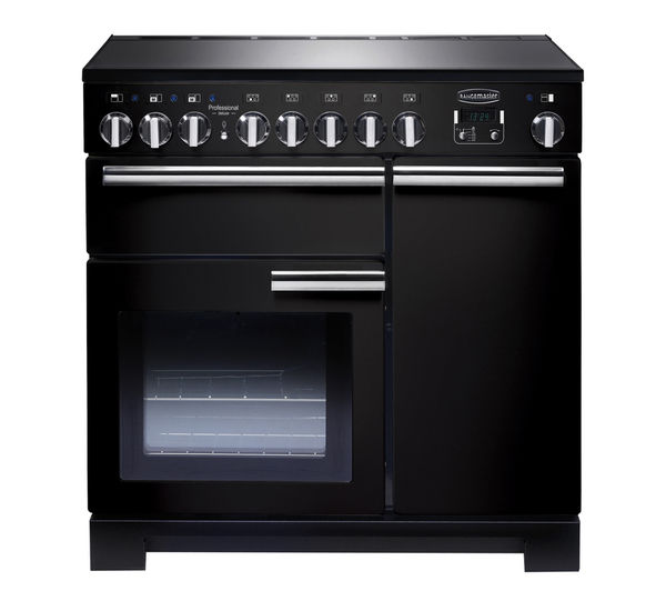 RANGEMASTER Professional Deluxe 90 Electric Induction Range Cooker - Black & Chrome, Black