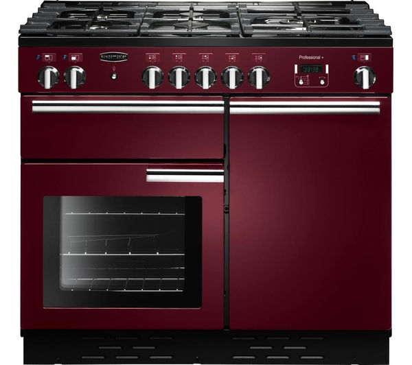 Rangemaster Professional+ 100 Dual Fuel Range Cooker - Cranberry & Chrome, Cranberry
