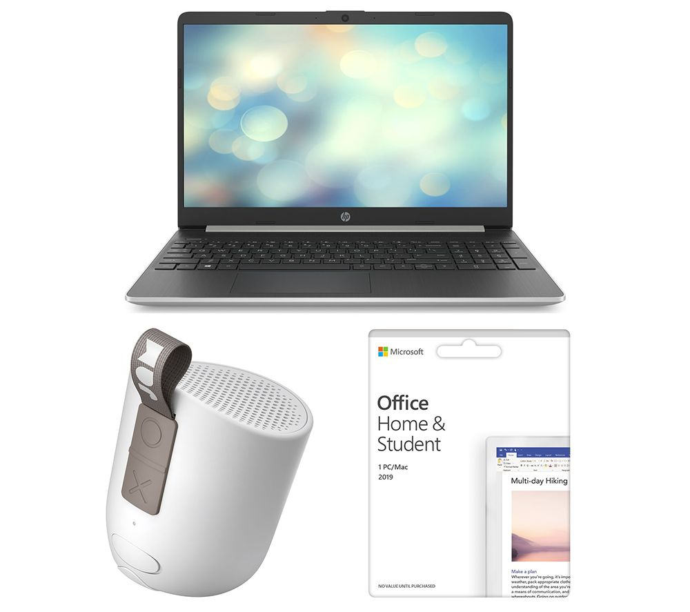 "MICROSOFT 15s-fq1514sa 15.6"" Laptop, Office Home & Student 2019 & Chill Out HX-P202GY Portable Bluetooth Speaker Bundle"