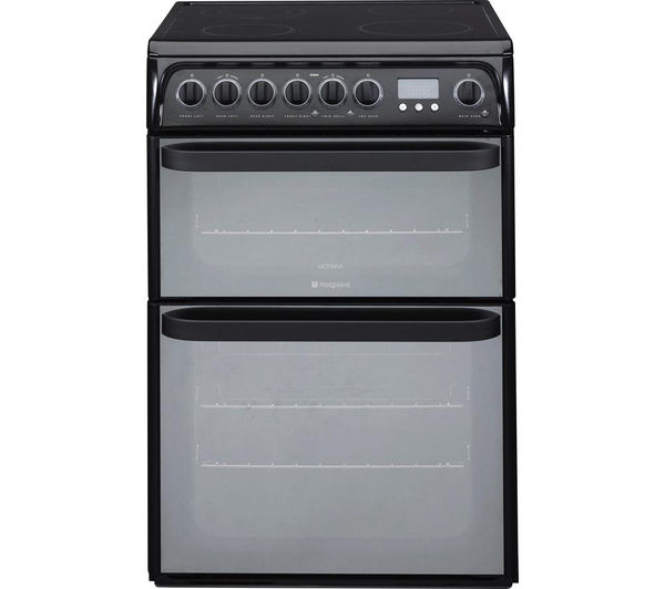 HOTPOINT Ultima DUE61BC Electric Ceramic Cooker – Black, Black