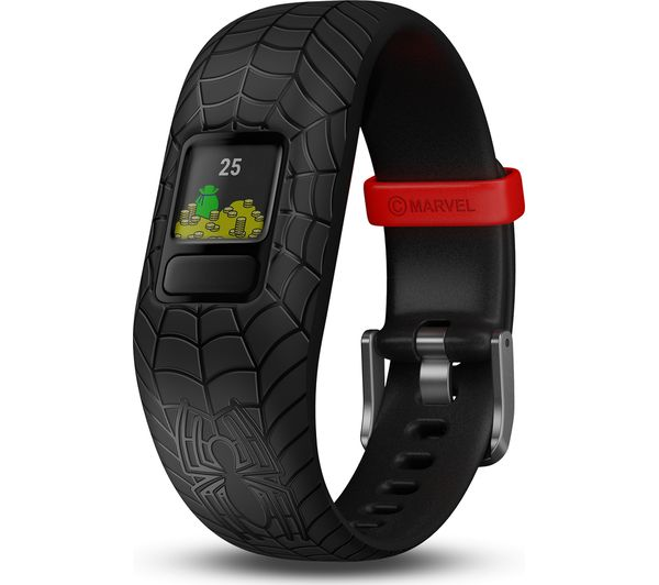 GARMIN vivofit jr 2 Kid's Activity Tracker - Black Spider-Man, Adjustable Band, Black