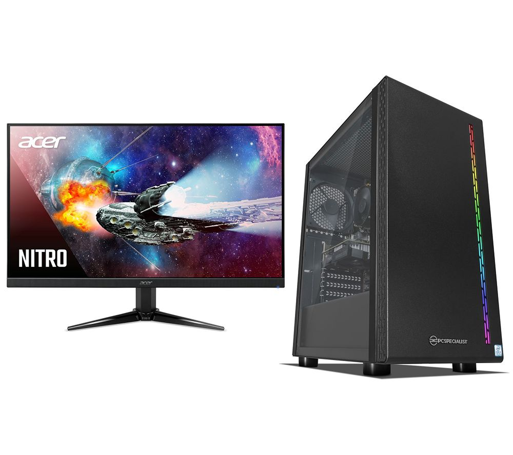 PC SPECIALIST Vortex AR Intel® Core™ i3 Gaming PC & Monitor Bundle, Black