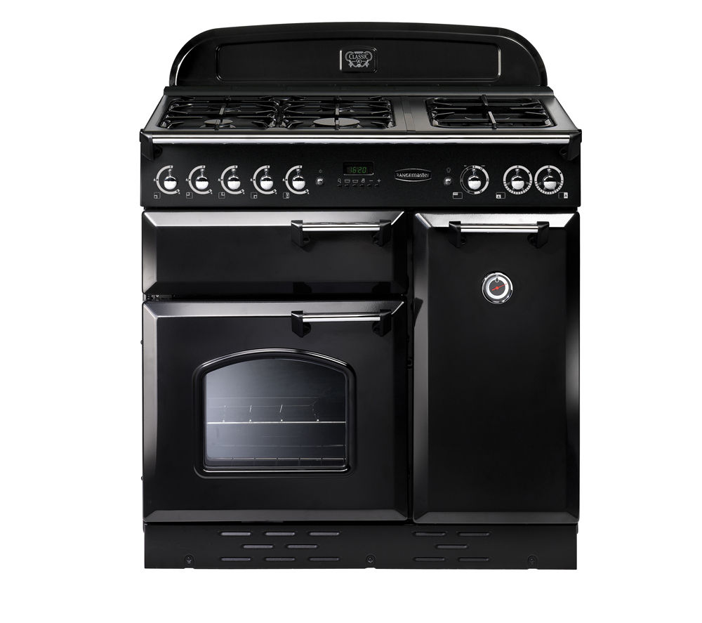 RANGEMASTER Classic 90 LPG Range Cooker - Black & Chrome, Black