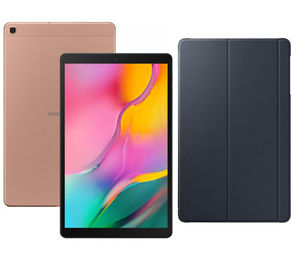 "SAMSUNG Galaxy Tab A 10.1"" Tablet (2019) & Smart Cover Bundle - 32 GB, Gold, Gold"