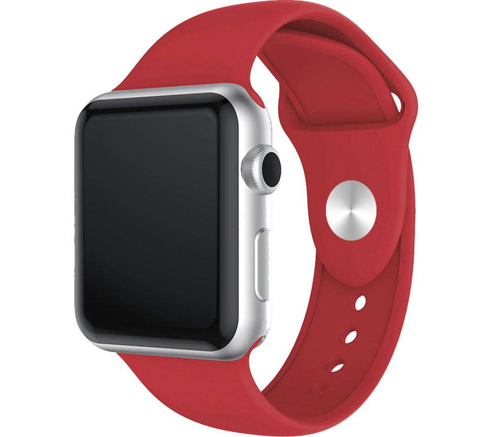 XQISIT Apple Watch 38 / 40 mm Silicone Strap - Red, Small, Red