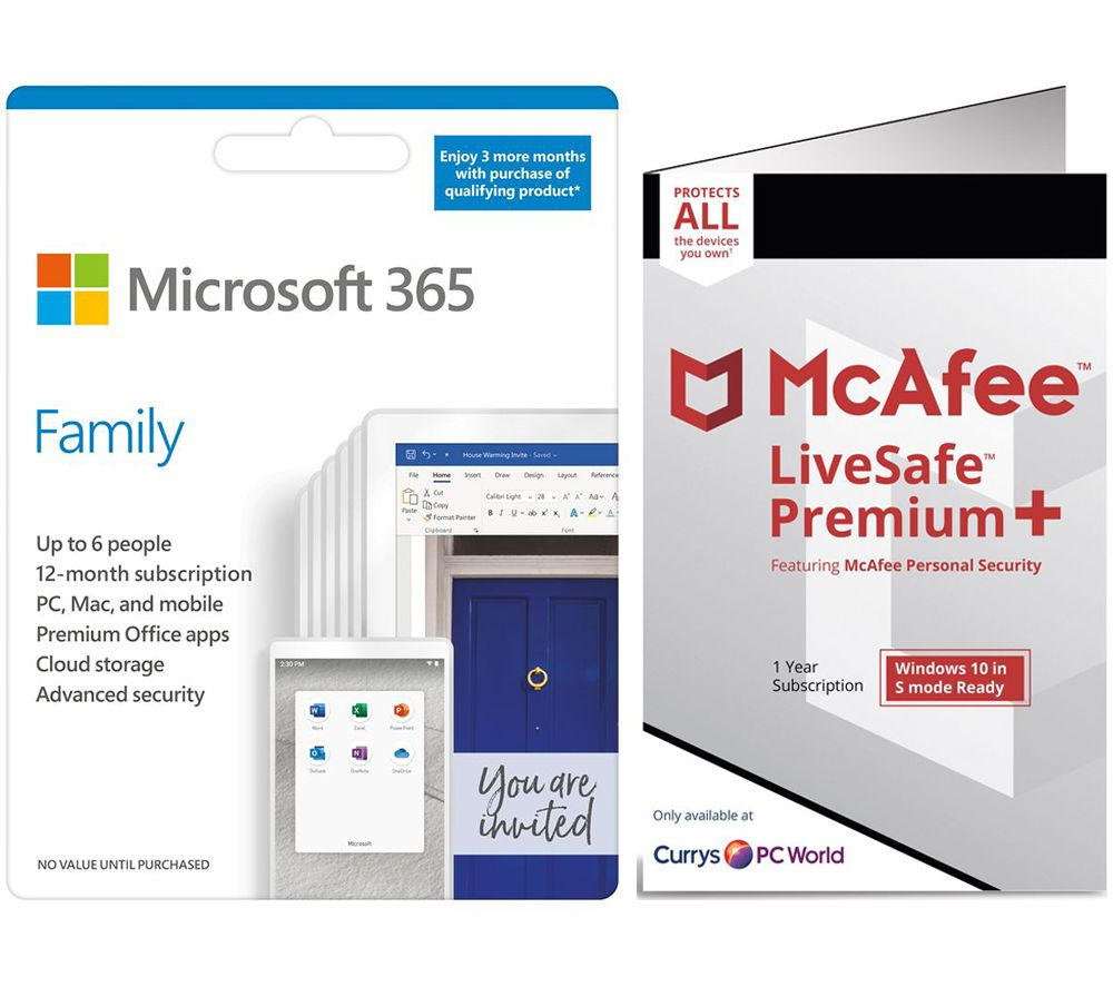 MICROSOFT 365 Family & McAfee LiveSafe Premium 2020 Bundle - 1 year for 6 users (+ 3 Months MICROSOFT 365 Extra Time)