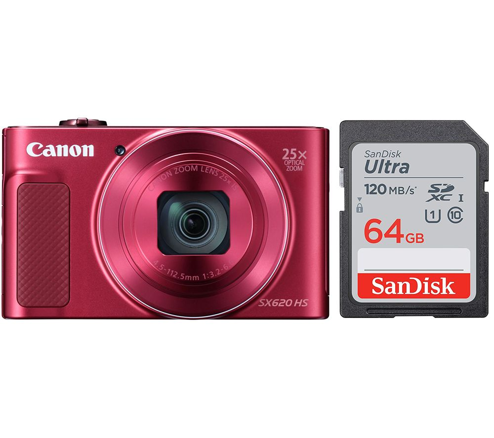 CANON PowerShot SX620 HS Compact Camera & 64 GB Memory Card Bundle - Red, Red