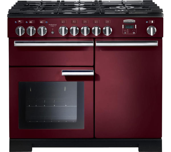 RANGEMASTER Professional Deluxe 100 Dual Fuel Range Cooker - Cranberry & Chrome, Cranberry