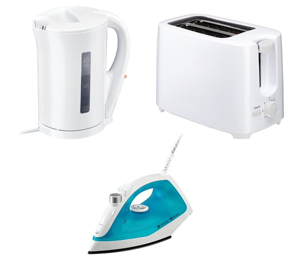 ESSENTIALS C12IR13 Steam Iron, C17JKW17 Jug Kettle & C02TW17 2-Slice Toaster Bundle - White, White