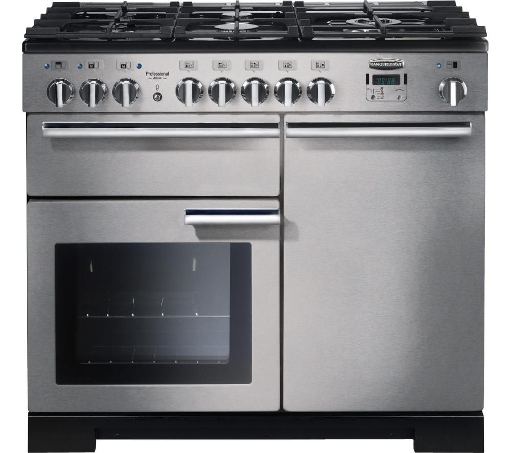 RANGEMASTER Professional Deluxe 100 Dual Fuel Range Cooker - Stainless Steel & Chrome, Stainless Steel