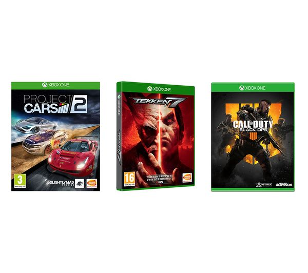 XBOX ONE Call of Duty Black Ops 4, Tekken 7 & Project Cars 2 Bundle, Black