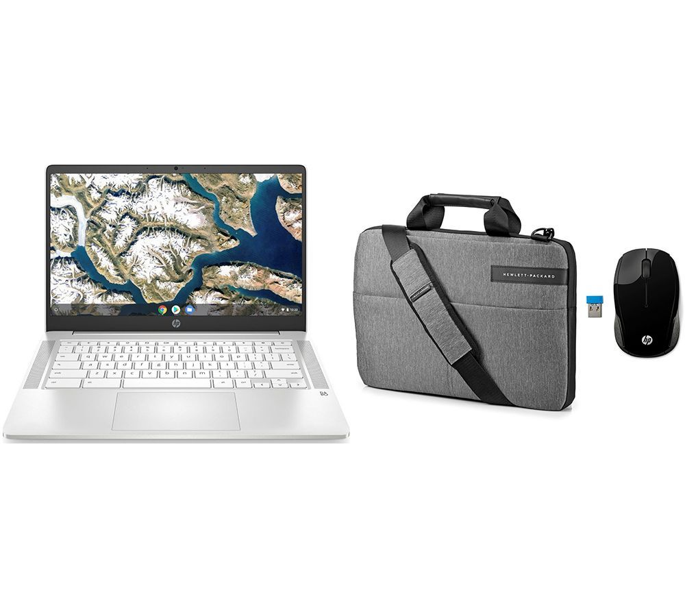 "HP 14"" Chromebook, Messenger Bag & Wireless Mouse 200 Bundle - Intel®Pentium Silver, 128 GB eMMC, White, Silver"