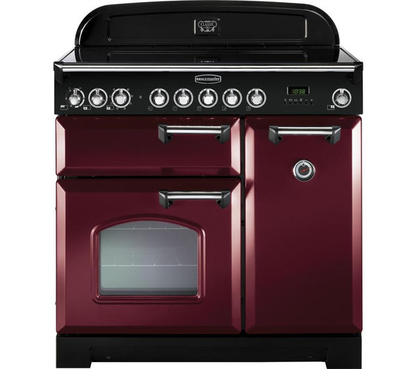 Rangemaster Classic Deluxe 90 Electric Induction Range Cooker - Cranberry & Chrome, Cranberry