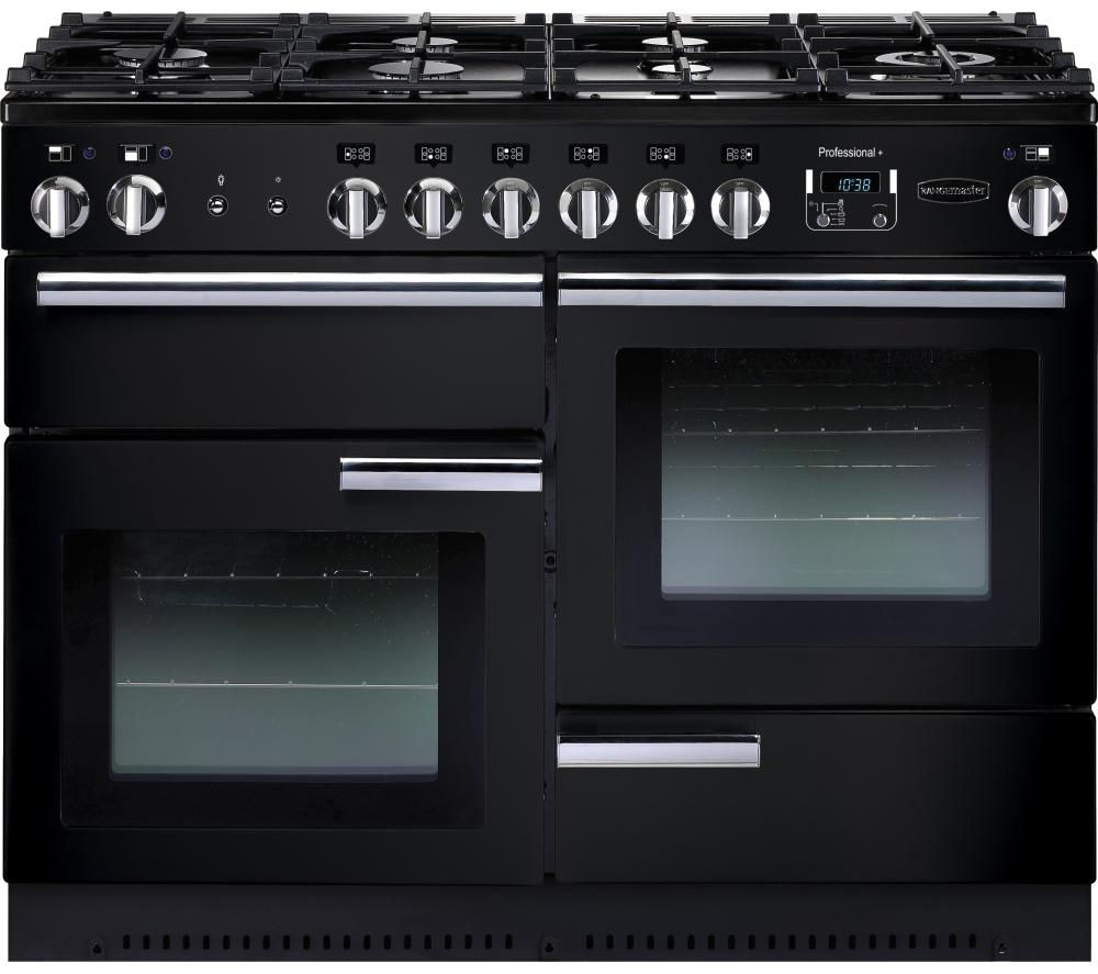 RANGEMASTER Professional 110 Gas Range Cooker - Black & Chrome, Black