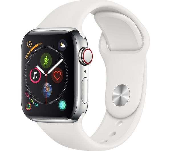 APPLE Watch Series 4 Cellular - Silver & White Sports Band, 40 mm, Silver