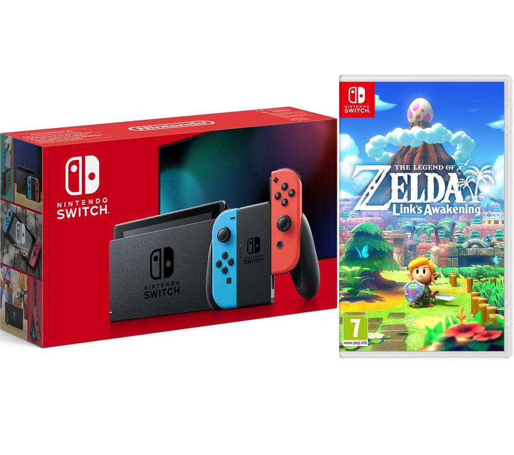 NINTENDO Switch & The Legend of Zelda: Links Awakening Bundle - Neon Red & Blue, Neon