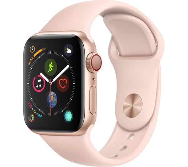APPLE Watch Series 4 Cellular - Gold & Pink Sports Band, 40 mm, Gold