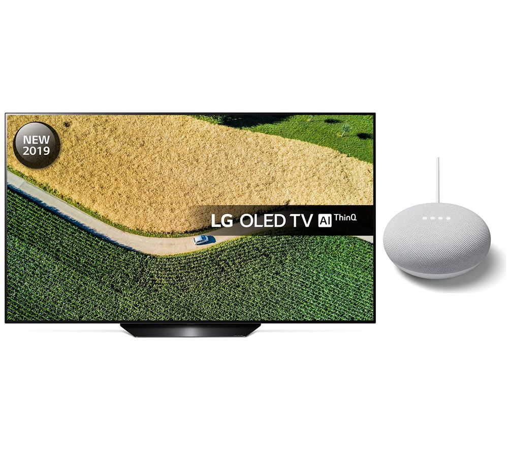 "55"" LG OLED55B9PLA  Smart 4K Ultra HD HDR OLED TV with Google Assistant & Nest Mini Bundle, Black"