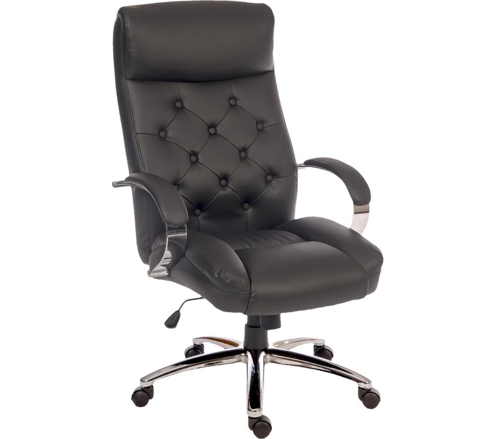 TEKNIK Hendon Faux Leather Tilting Executive Chair - Black & Silver, Black