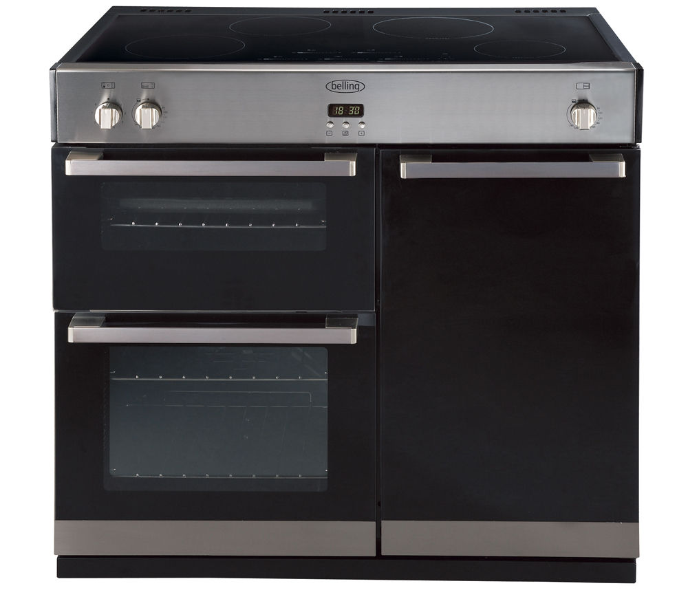 BELLING DB4 90Ei Electric Range Cooker - Black & Stainless Steel, Stainless Steel