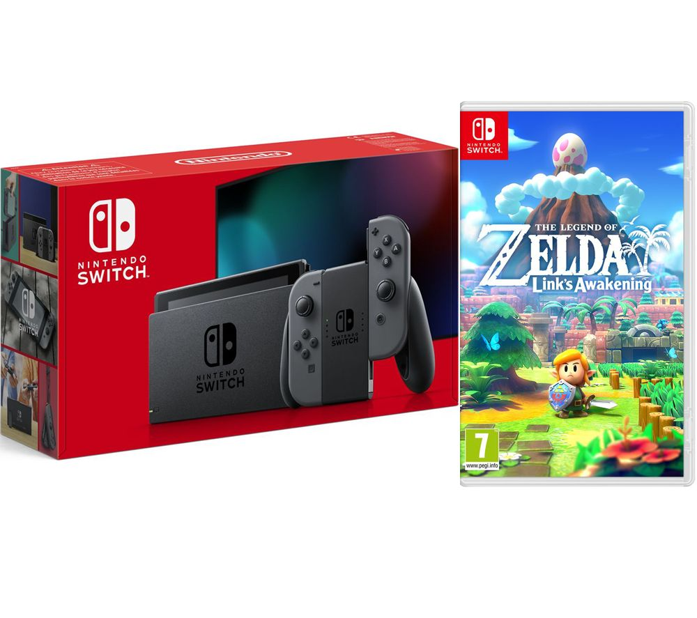 NINTENDO Switch & The Legend of Zelda: Links Awakening Bundle - Grey, Grey