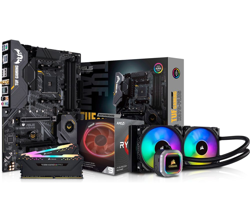 PC SPECIALIST AMD Ryzen 9 Processor, TUF X570 PLUS Motherboard, 32 GB RAM & Corsair RGB Cooler Components Bundle