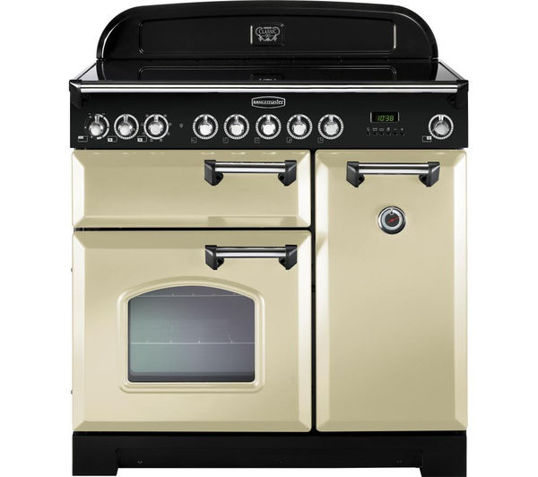 RANGEMASTER Classic Deluxe 90 Electric Induction Range Cooker - Cream & Chrome, Cream