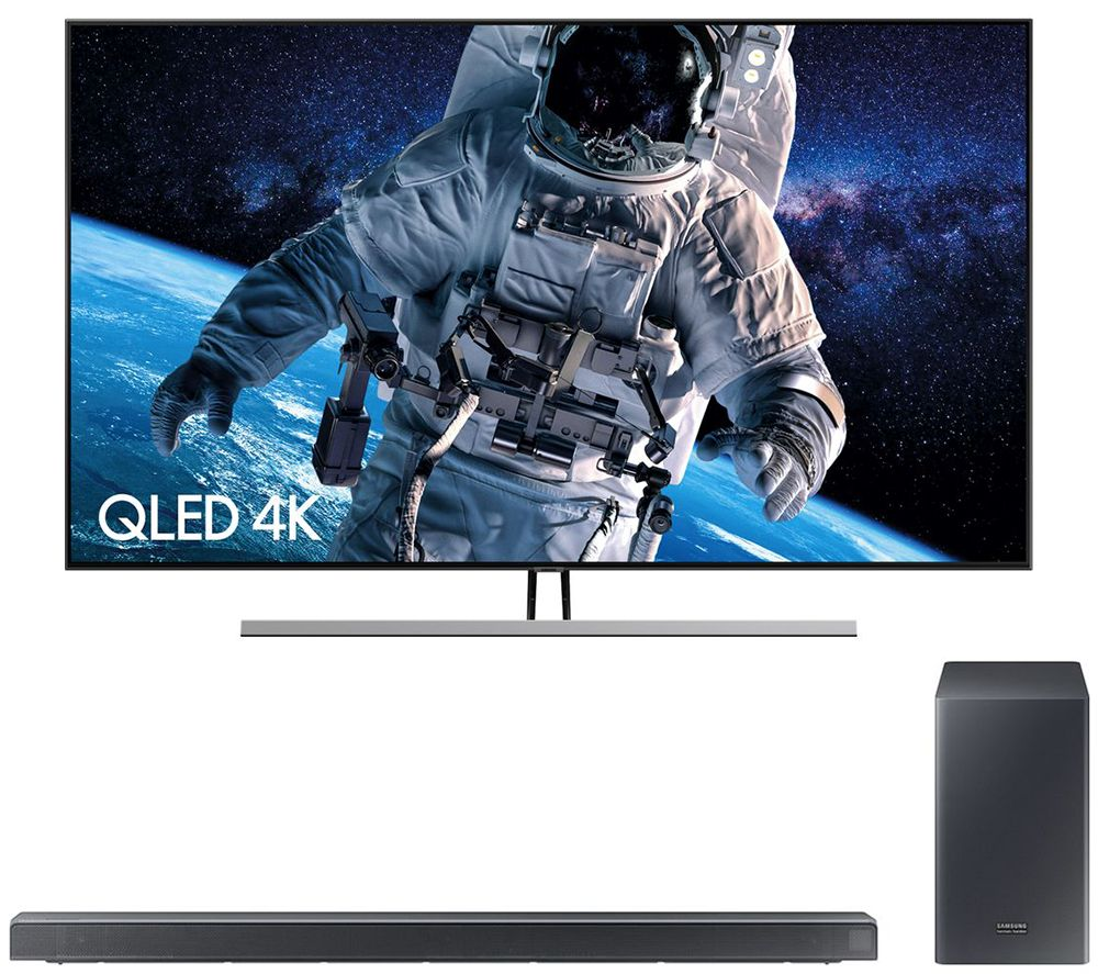 "75"" SAMSUNG QE75Q85RATXXU  Smart 4K Ultra HD HDR QLED TV with Bixby & 5.1 Wireless Sound Bar Bundle"