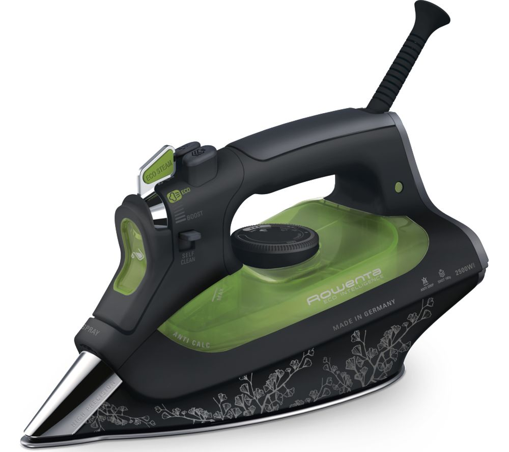 ROWENTA Rowenta Eco Intel®igence DW6030 Steam Iron - Black & Green, Black