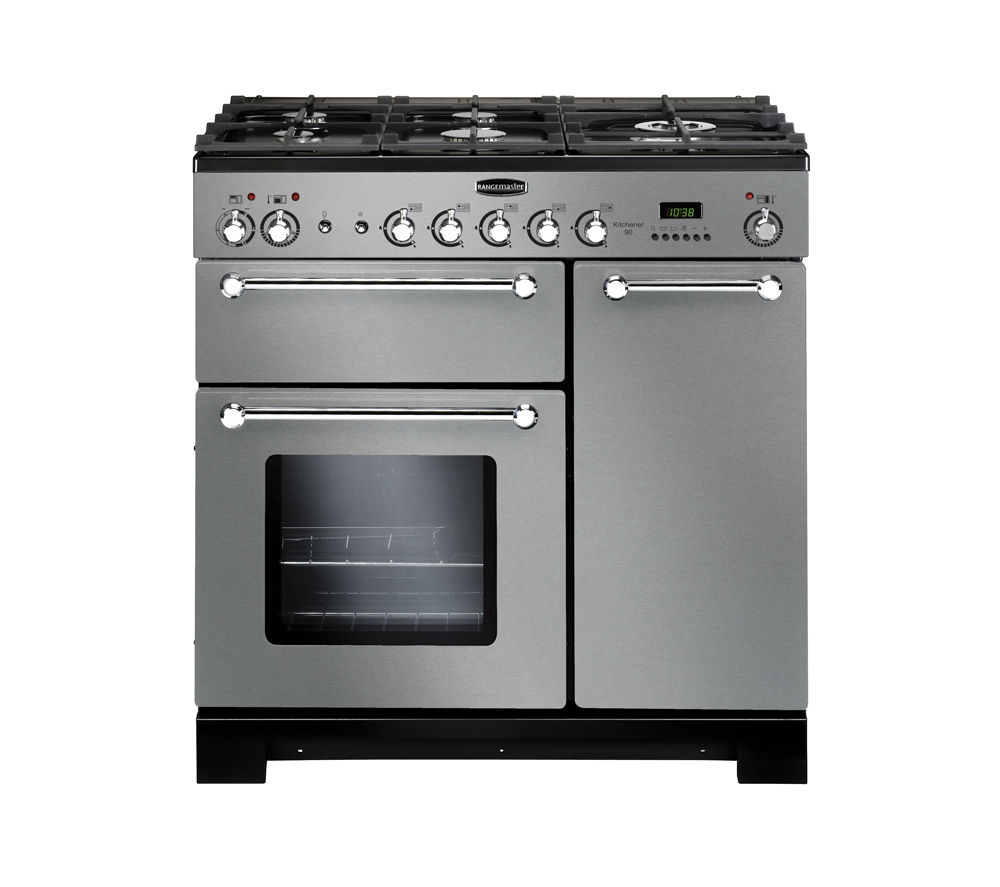 RANGEMASTER Kitchener 90 Dual Fuel Range Cooker - Stainless Steel & Chrome, Stainless Steel