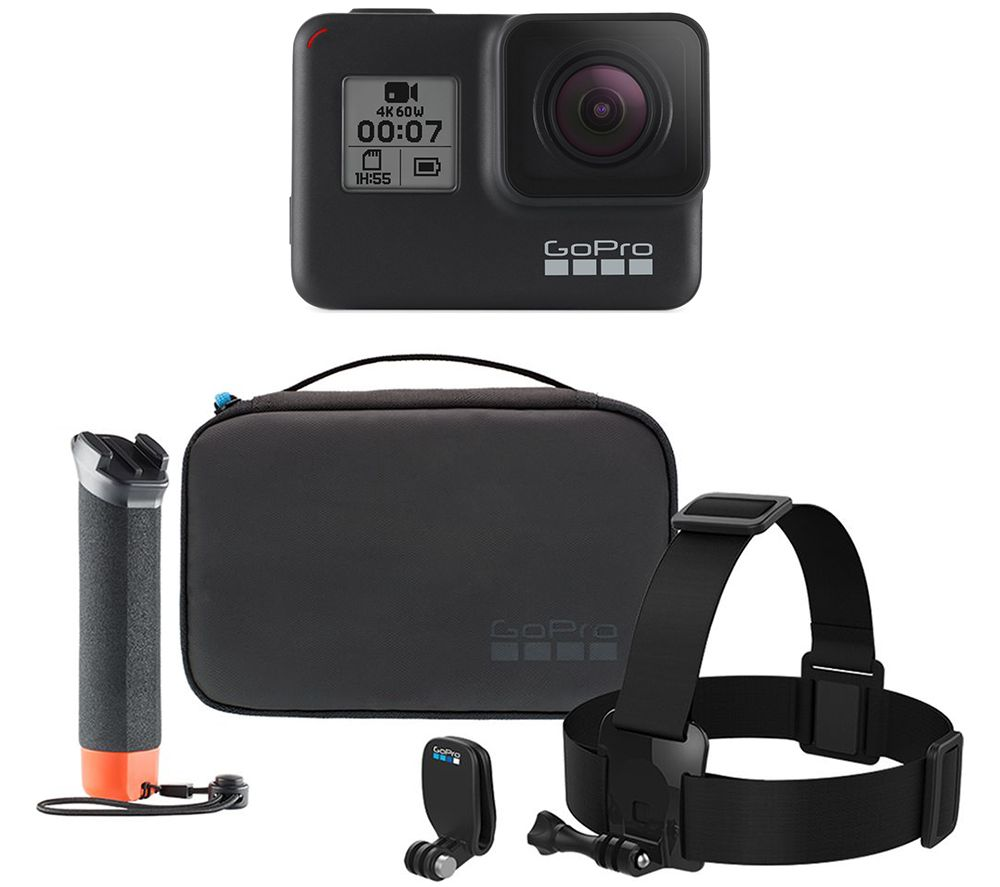 Gopro HERO7 Black Action Camera & Adventure Accessory Kit Bundle, Black