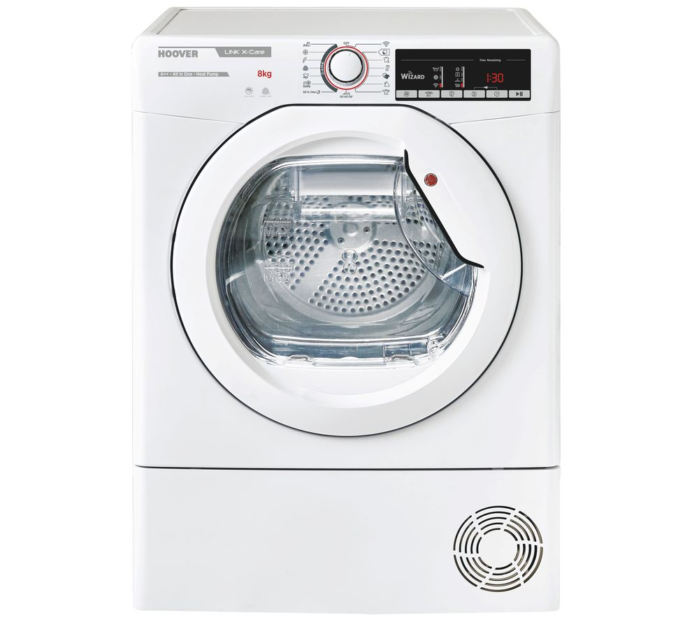 HOOVER Link X Care HLX H8A2TE WiFi-enabled 8 kg Heat Pump Tumble Dryer - White, White