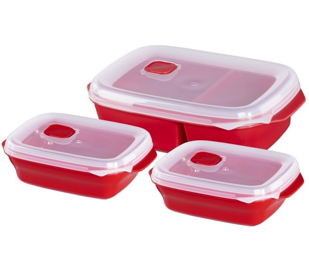 XAVAX 111463 Rectangular Food Storage Container Set – Red, Pack of 3, Red