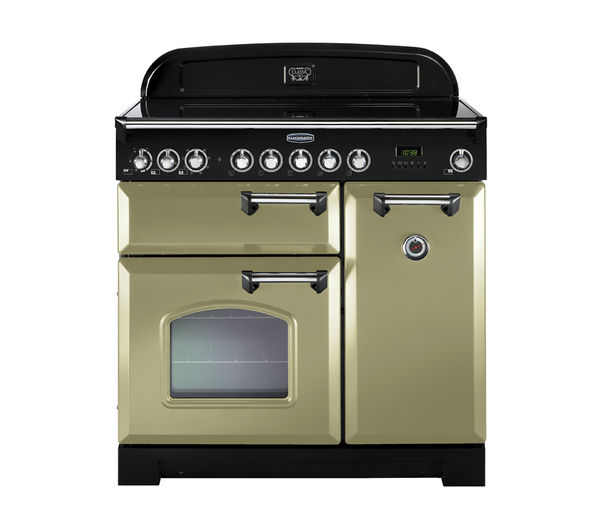 RANGEMASTER Classic Deluxe 90 Electric Ceramic Range Cooker - Olive Green & Chrome, Olive