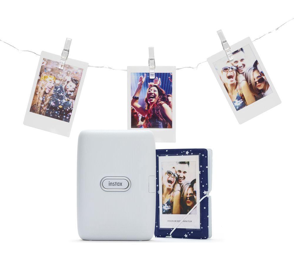 INSTAX mini Link Photo Printer with Album & LED Peg Lights Bundle - Ash White, White