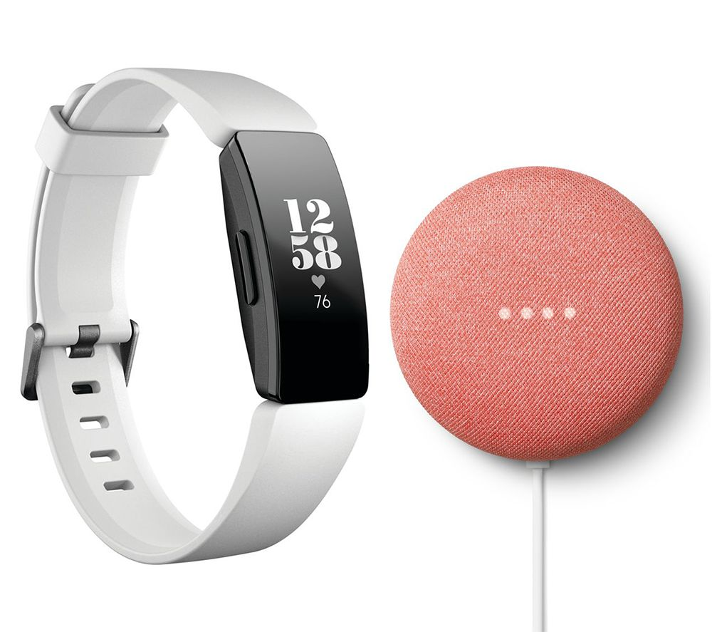 FITBIT Inspire HR Fitness Tracker & Coral Nest Mini Bundle - White, Universal, Coral
