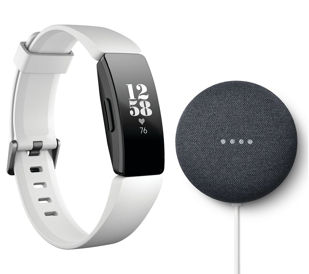 FITBIT Inspire HR Fitness White & Nest Mini Charcoal Bundle, White