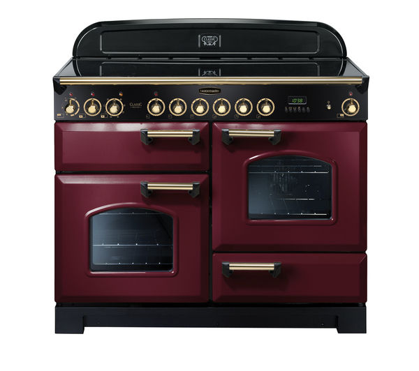 RANGEMASTER Classic Deluxe 110 Electric Ceramic Range Cooker - Cranberry & Brass, Cranberry