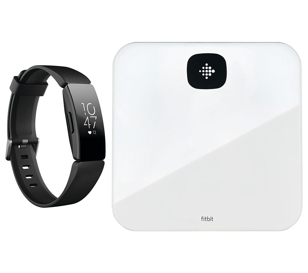 FITBIT Inspire HR Fitness Tracker & Aria Air Smart Scale Bundle - Black, Black