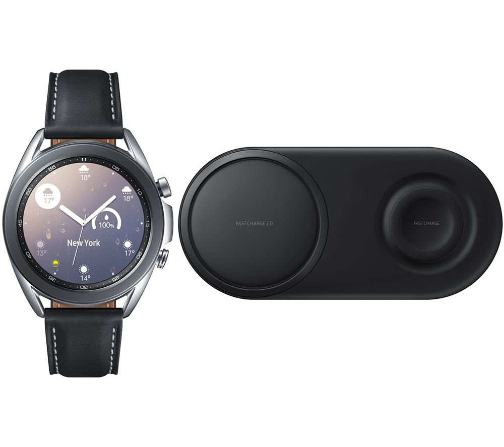 SAMSUNG Galaxy Watch3 & Qi Wireless Duo Charging Pad Bundle, Silver