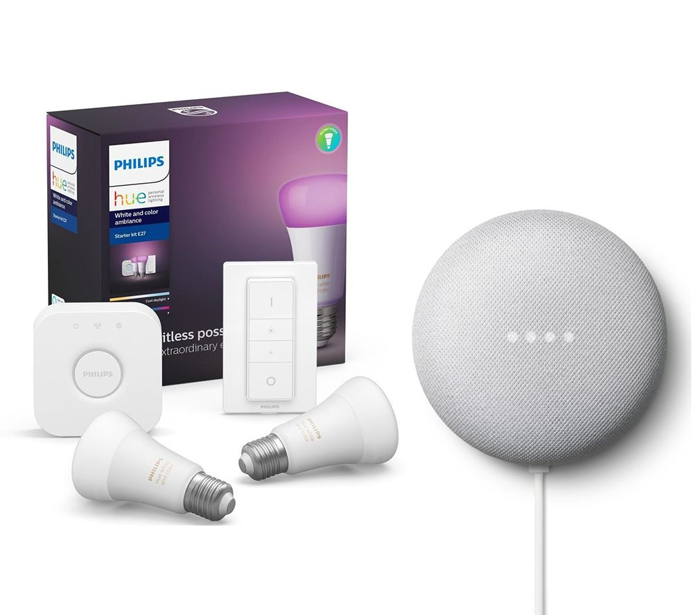 PHILIPS Hue A60 White & Colour Ambience Starter Kit with Google Nest Mini Bundle, White