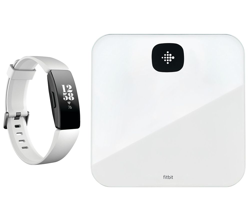 FITBIT Inspire HR Fitness Tracker & Aria Air Smart Scale Bundle - White, White