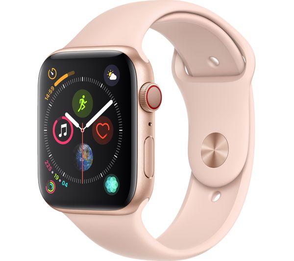APPLE Watch Series 4 Cellular - Gold & Pink Sports Band, 44 mm, Gold