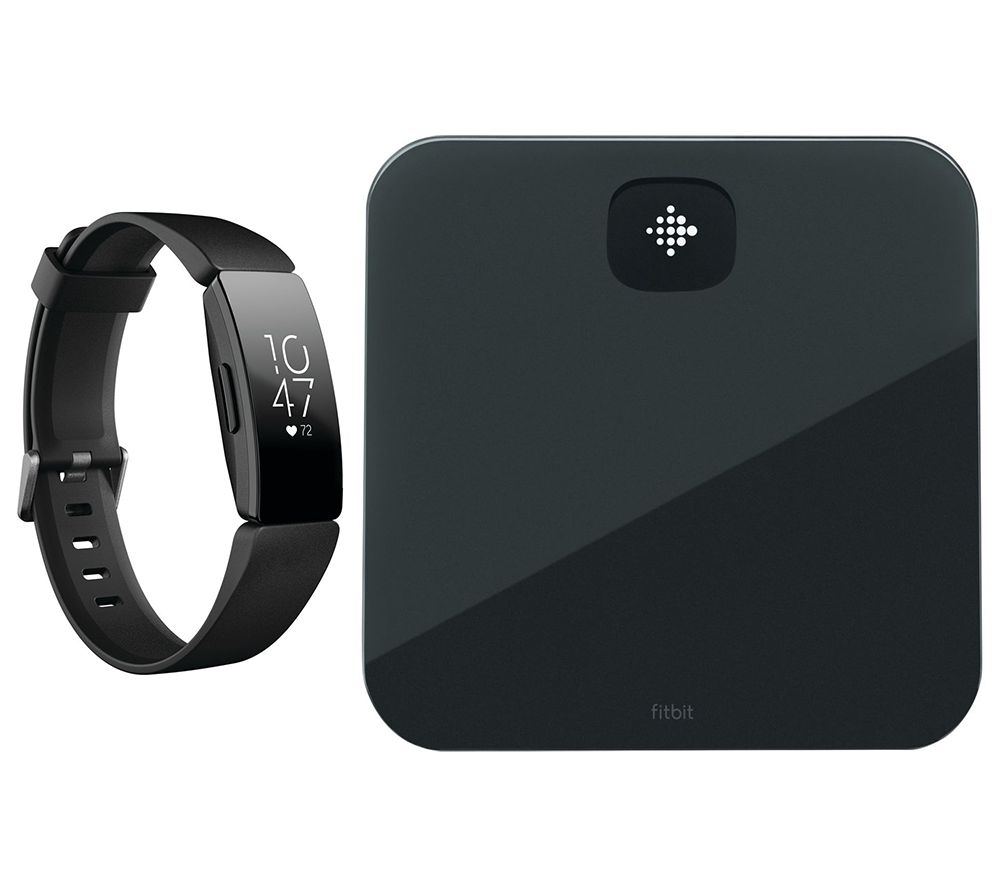FITBIT Inspire HR Fitness Tracker & Aria Air Smart Scale Bundle - Black, Universal, Black