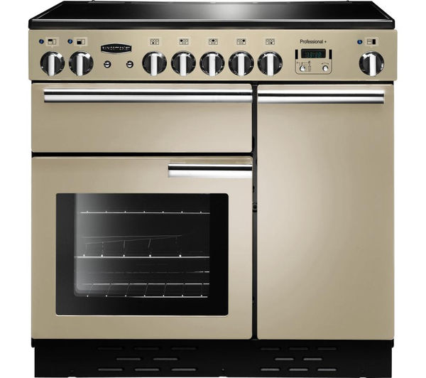Rangemaster Professional+ 90 Electric Induction Range Cooker - Cream & Chrome, Cream