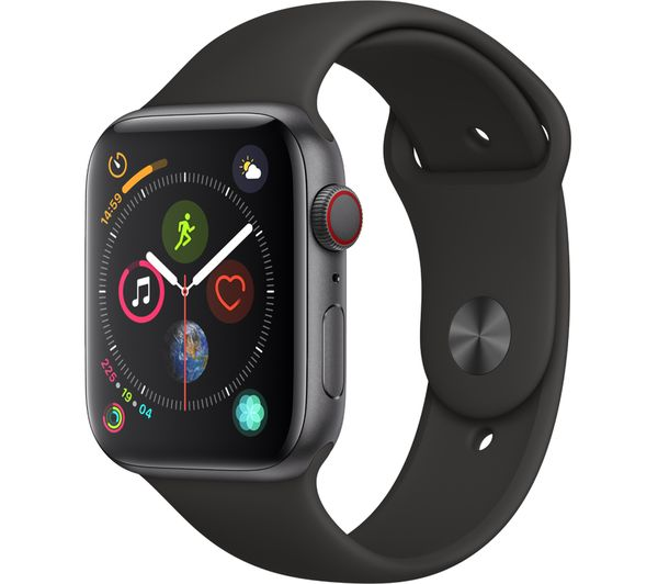 APPLE Watch Series 4 Cellular - Space Grey & Black Sports Band, 44 mm, Grey