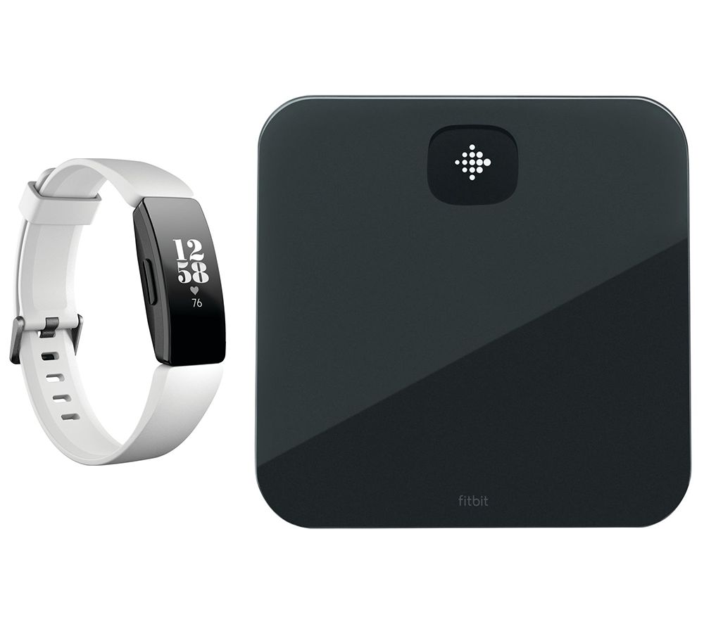FITBIT Inspire HR Fitness Tracker & Aria Air Smart Scale Bundle - White, Universal, White