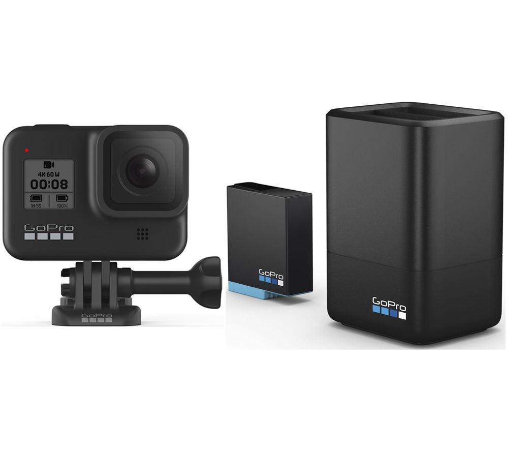 Gopro HERO8 Black 4K Ultra HD Action Camera, Dual Battery Charger & Extra Battery Bundle, Black